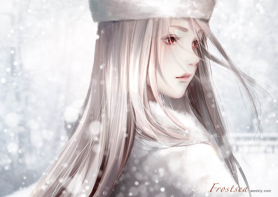 1girl artist_name creamsea fate/zero fate_(series) floating_hair hat irisviel_von_einzbern long_hair outdoors parted_lips silver_hair snowing solo upper_body very_long_hair white_hat