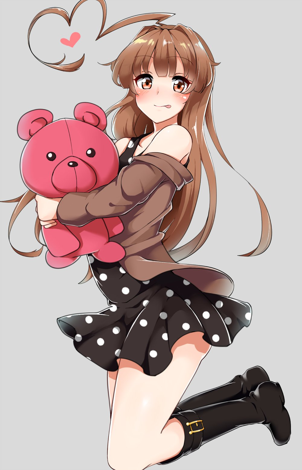 1girl ahoge aoi_renji ass bare_shoulders black_footwear blush boots brown_eyes brown_hair brown_jacket dress eyebrows_visible_through_hair full_body grey_background heart_ahoge highres holding holding_stuffed_animal jacket kantai_collection kuma_(kantai_collection) long_hair looking_at_viewer polka_dot polka_dot_dress simple_background solo stuffed_animal stuffed_toy teddy_bear tongue tongue_out