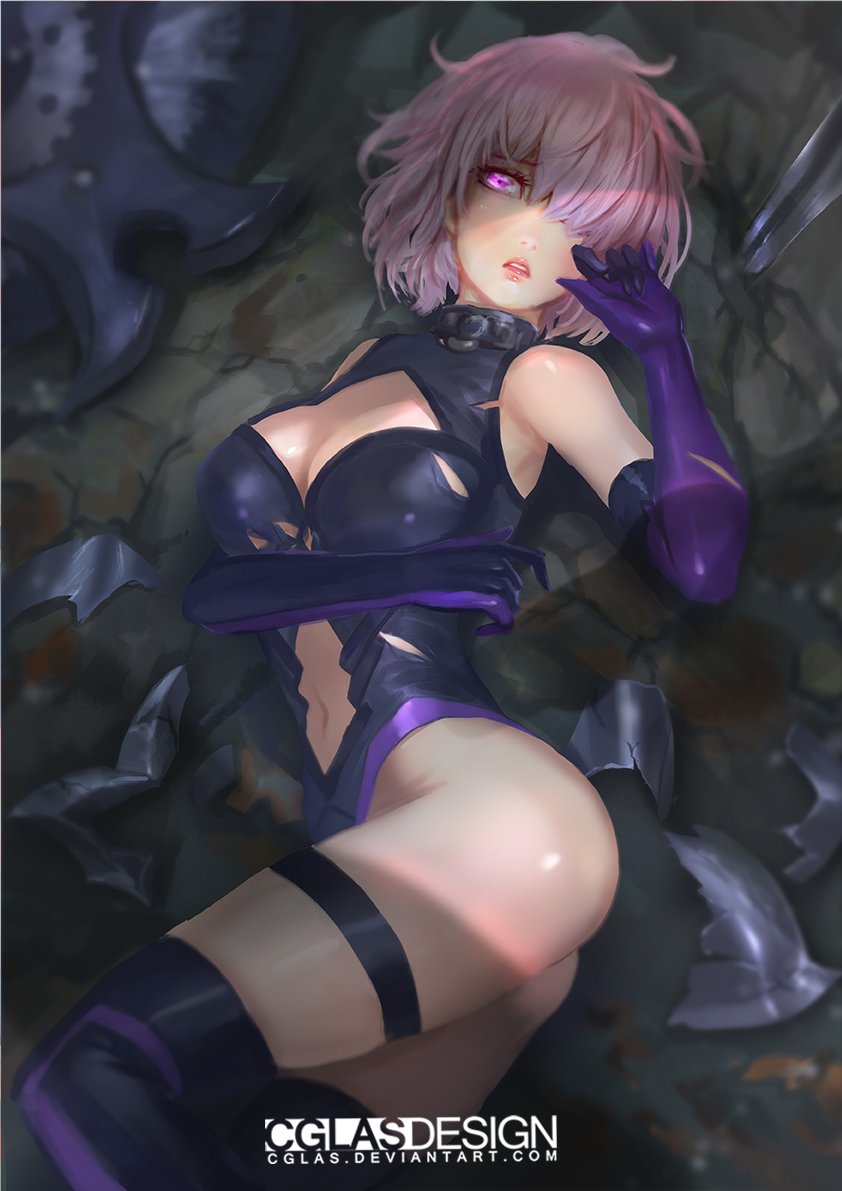 1girl ass black_legwear breast_lift breasts cglas elbow_gloves fate/grand_order fate_(series) feet_out_of_frame gloves hair_over_one_eye hand_up large_breasts lying mash_kyrielight navel on_back on_floor parted_lips planted_weapon purple_gloves shielder_(fate/grand_order) solo thigh_strap violet_eyes watermark weapon