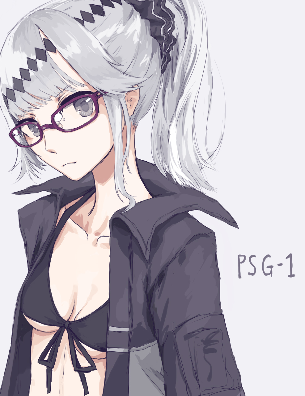 1girl bikini_top black_bikini_top black_jacket breasts character_name cleavage closed_mouth collarbone eyebrows_visible_through_hair girls_frontline glasses grey_hair hair_between_eyes hair_ornament head_tilt highres jacket looking_at_viewer medium_breasts open_clothes open_jacket papaia_(quentingqoo) ponytail psg-1_(girls_frontline) purple-framed_eyewear scrunchie sidelocks solo