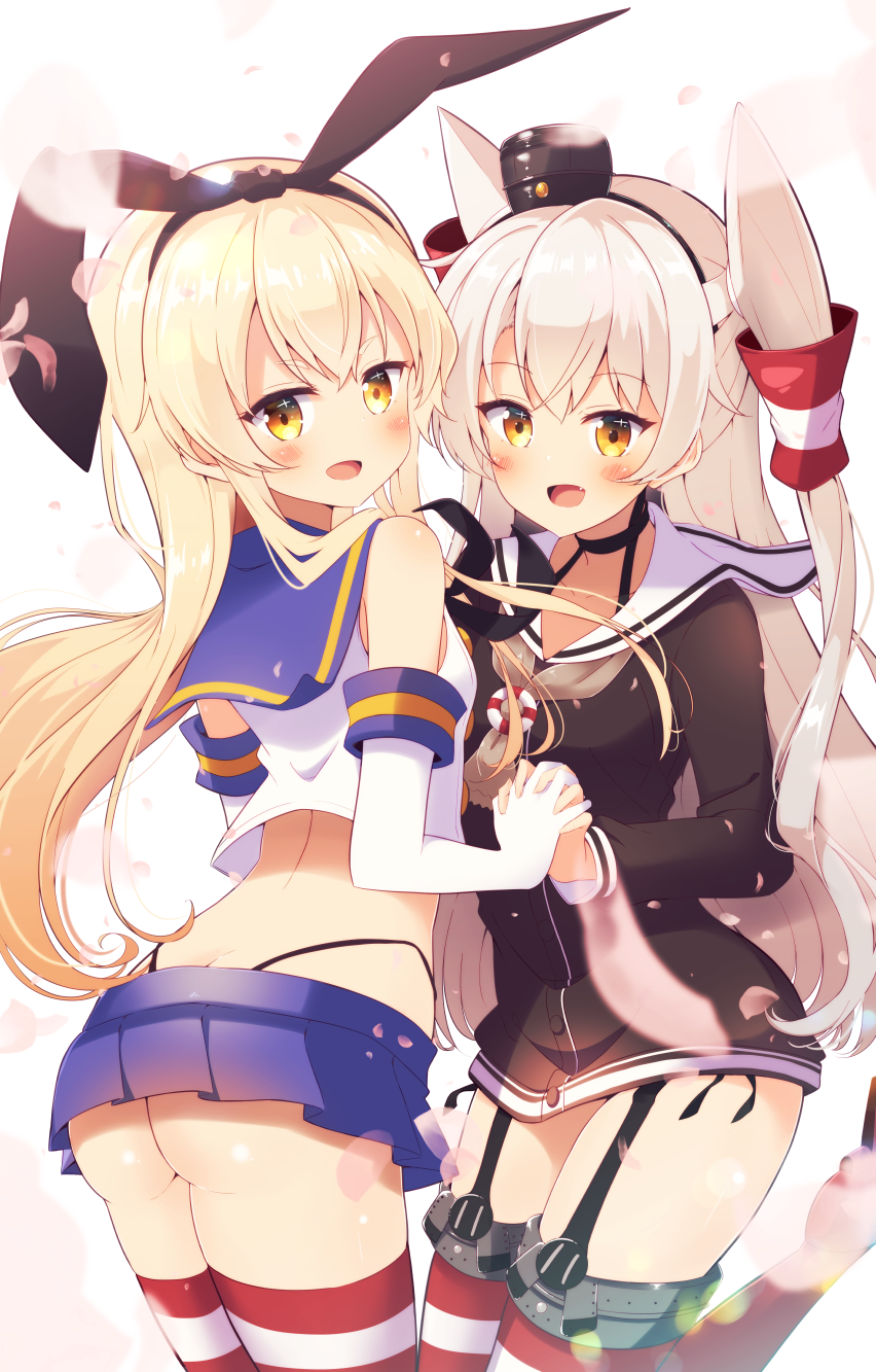 2girls :d amatsukaze_(kantai_collection) ass black_hairband black_panties black_shirt blonde_hair blue_skirt blush bokkun_(doyagaobyo) crop_top elbow_gloves eyebrows_visible_through_hair garter_straps gloves hair_between_eyes hair_ornament hairband hand_holding highleg highleg_panties highres interlocked_fingers kantai_collection long_hair looking_at_viewer looking_back microskirt multiple_girls open_mouth panties shimakaze_(kantai_collection) shirt silver_hair simple_background skirt smile striped striped_legwear thigh-highs twintails underwear very_long_hair white_background white_gloves white_shirt yellow_eyes