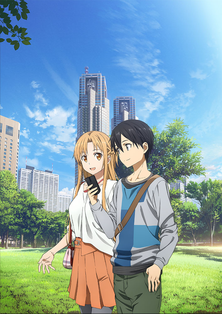 1boy 1girl artist_request asuna_(sao) bag black_eyes black_hair blue_sky braid brown_eyes brown_hair building cellphone couple dress french_braid green_pants grey_legwear grey_sweater half_updo hand_in_pocket hetero kirito long_hair multicolored_sweater official_art orange_dress outdoors pants pantyhose phone scenery sky sword_art_online tree