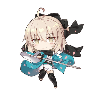 1girl ahoge black_bow black_legwear bow chibi eyebrows_visible_through_hair fate/grand_order fate_(series) full_body gabiran hair_between_eyes hair_bow holding holding_sword holding_weapon japanese_clothes katana kimono long_hair looking_at_viewer lowres okita_souji_(fate) outstretched_arm short_kimono silver_hair simple_background smile solo sword thigh-highs weapon white_background white_kimono yellow_eyes zettai_ryouiki
