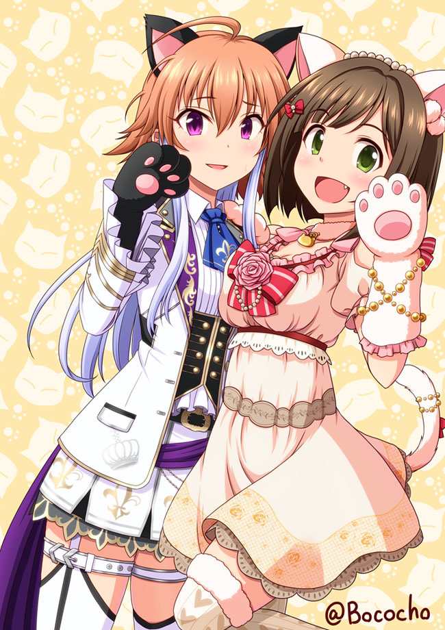 2girls :d animal_ears black_gloves blue_neckwear bococho breasts brown_hair cat_tail cleavage cowboy_shot dress dutch_angle eyebrows_visible_through_hair fake_animal_ears fang flower fur_trim garter_straps gloves green_eyes hair_between_eyes hair_ornament idolmaster idolmaster_cinderella_girls kanzaki_ranko miniskirt multicolored_hair multiple_girls necktie ninomiya_asuka open_mouth orange_hair paw_gloves paws pink_flower pleated_skirt ribbon short_dress short_hair short_necktie short_sleeves silver_hair skirt smile striped striped_ribbon tail thigh-highs thigh_strap two-tone_hair violet_eyes white_gloves white_legwear white_skirt