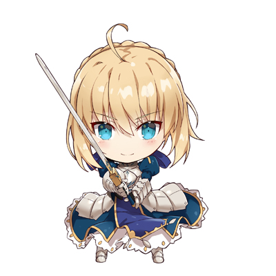 1girl ahoge armor armored_boots armored_dress artoria_pendragon_(all) blonde_hair blue_dress blue_eyes blue_ribbon boots chibi dress excalibur eyebrows_visible_through_hair fate/stay_night fate_(series) full_body gabiran gauntlets hair_between_eyes hair_ribbon holding holding_sword holding_weapon looking_at_viewer lowres ribbon saber short_hair_with_long_locks sidelocks simple_background smile solo standing sword weapon white_background