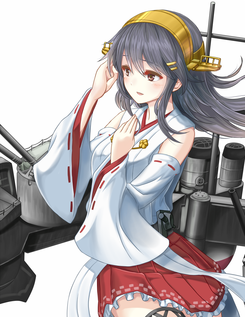 1girl black_hair brown_eyes cowboy_shot detached_sleeves eyebrows_visible_through_hair floating_hair hair_between_eyes haruna_(kantai_collection) japanese_clothes kantai_collection kimono long_hair miniskirt nontraditional_miko pleated_skirt red_skirt ribbon-trimmed_sleeves ribbon_trim simple_background skirt solo standing very_long_hair white_background white_kimono yatsu_seisakusho yellow_hairband