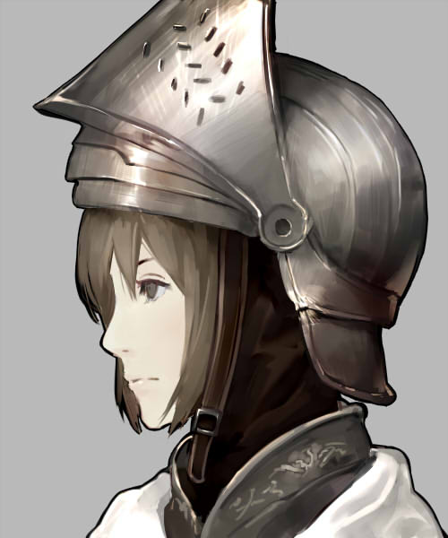 1girl armor brown_hair closed_mouth comic commentary_request face from_side grey_background grey_eyes keemu_(occhoko-cho) original profile scarf short_hair simple_background solo visor_(armor) visor_lift