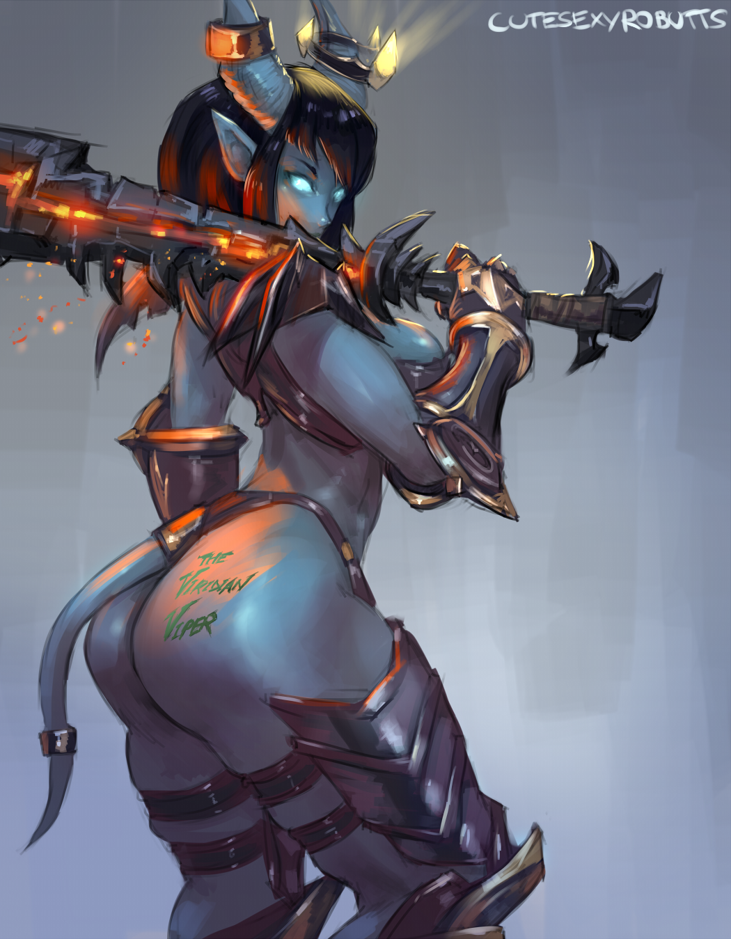 1girl arched_back armor ass bare_shoulders bikini_armor black_hair blue_background blue_eyes blue_skin body_writing breasts commission cutesexyrobutts draenei embers energy gauntlets glowing glowing_eyes highres horns long_hair looking_at_viewer looking_over_shoulder medium_breasts monster monster_girl pointy_ears revealing_clothes signature solo sword tail tattoo text thick_thighs thighs thong tramp_stamp warcraft weapon world_of_warcraft