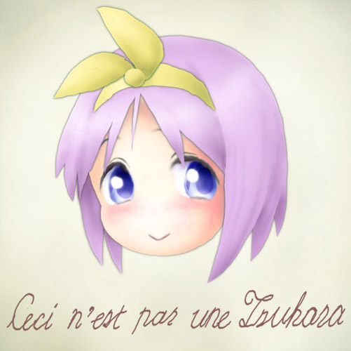 art blue_eyes fine_art_parody french head hiiragi_tsukasa la_trahison_des_images leica lucky_star parody purple_hair ribbon short_hair