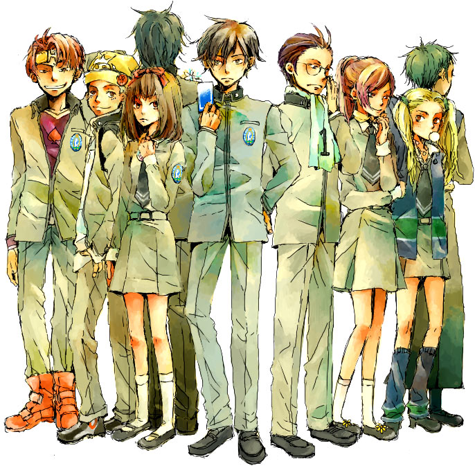 everyone inaba_masao kido_reiji kirishima_eriko mayuzumi_yukino namahamuro-su nanjo_kei nanjou_kei persona persona_1 school_uniform sonomura_maki toudou_naoya uesugi_hidehiko