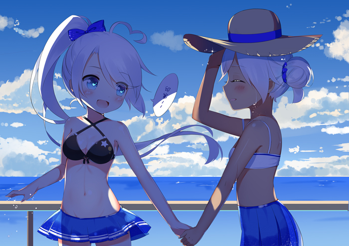 2girls :d azur_lane bangs bare_arms bare_shoulders bikini_top black_bikini_top blue_bow blue_eyes blue_skirt blue_sky blush bow clouds cloudy_sky collarbone commentary_request criss-cross_halter dark_skin day eye_contact eyebrows_visible_through_hair hair_between_eyes hair_bow halter_top halterneck hand_holding hat high_ponytail horizon indianapolis_(azur_lane) linhe_de_chuangzi long_hair looking_at_another multiple_girls ocean open_mouth outdoors pleated_skirt ponytail portland_(azur_lane) railing silver_hair skirt sky smile star sun_hat very_long_hair water wet wet_clothes wet_skirt white_bikini_top