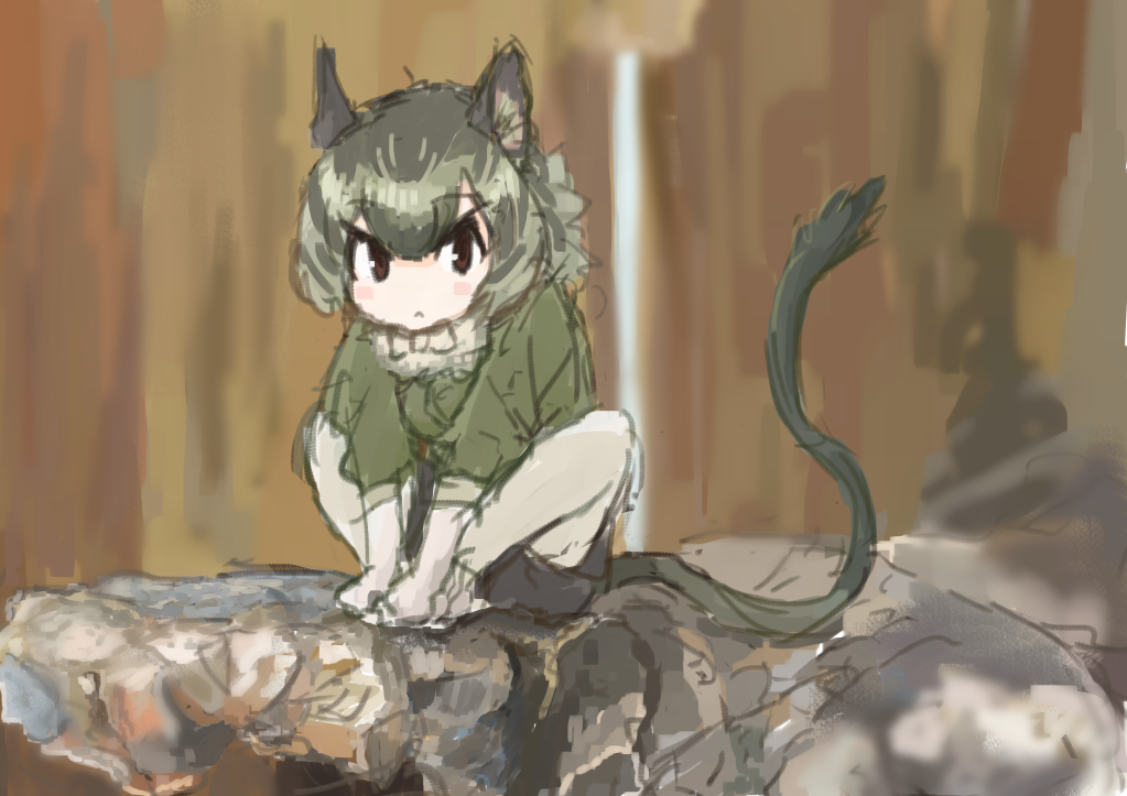animal_ears bow bowtie degu_(kemono_friends) frown gloves holding_feet kemono_friends multicolored_hair outdoors pantyhose shorts tail user_fzxv7542