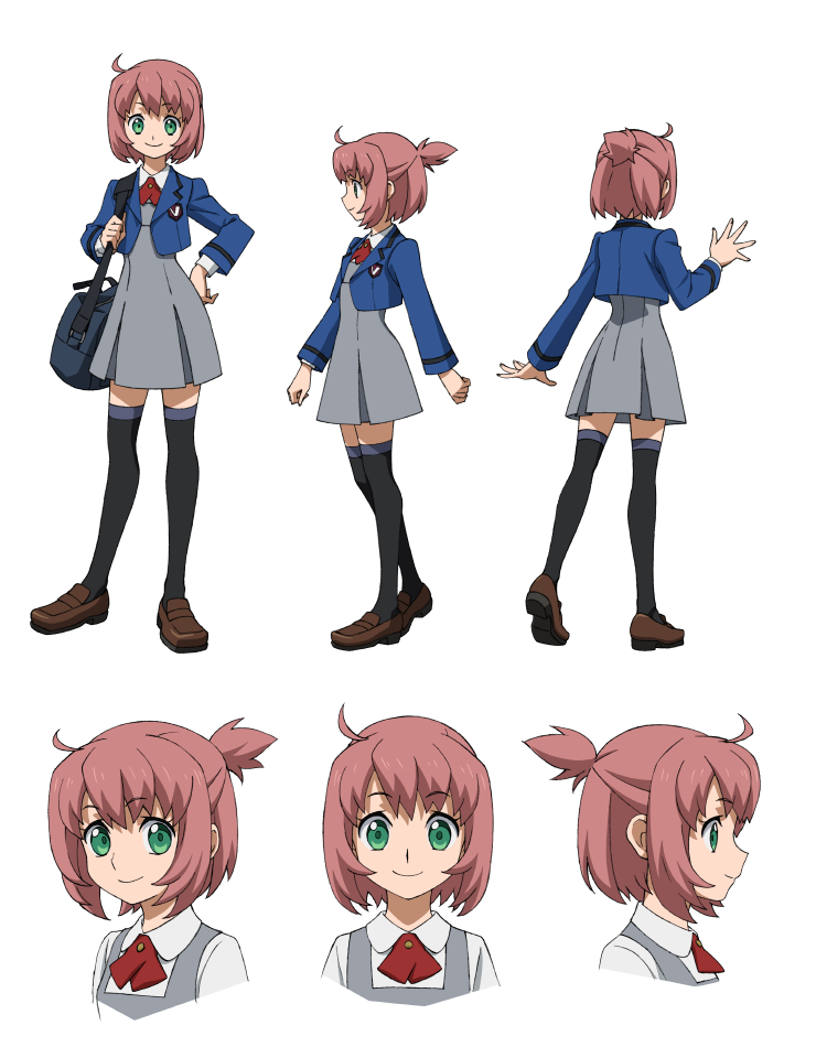 1girl bag brown_hair character_sheet green_eyes gundam gundam_build_divers medium_hair official_art school_uniform transparent_background yashiro_momoka