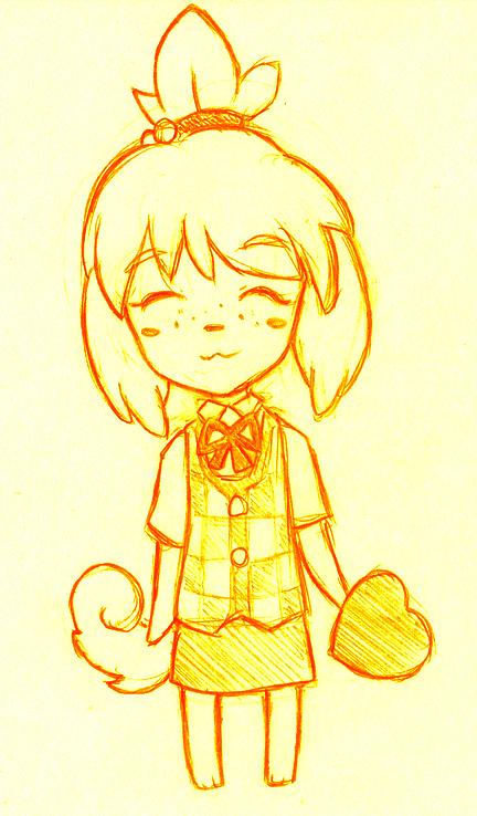 1girl :3 animal blush_stickers closed_eyes deviantart dog doubutsu_no_mori heart jacket no_humans shizue_(doubutsu_no_mori) skirt solo vakurii valentine yellow_background