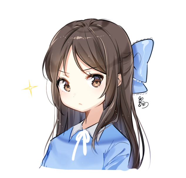 1girl blue_bow blue_shirt blush bow brown_eyes brown_hair closed_mouth collared_shirt commentary_request hair_bow idolmaster idolmaster_cinderella_girls long_hair looking_at_viewer moong_gya shirt signature simple_background solo sparkle tachibana_arisu v-shaped_eyebrows white_background