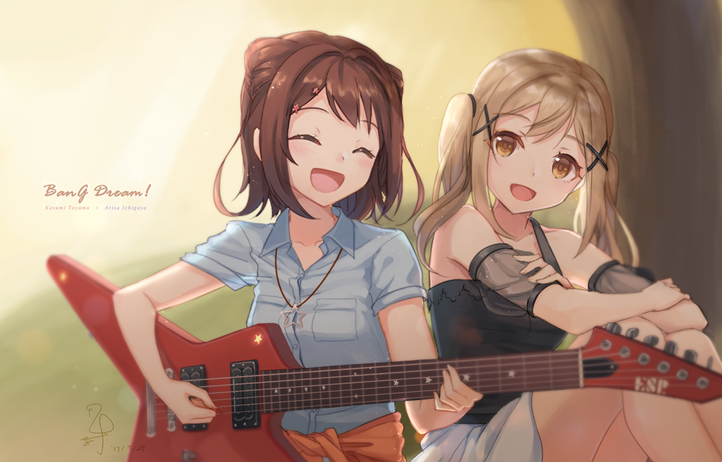 2girls :d ^_^ ^o^ backlighting bang_dream! black_shirt blonde_hair blue_shirt blush breast_pocket brown_hair character_name closed_eyes collarbone collared_shirt copyright_name dated detached_sleeves feet_out_of_frame hair_ornament head_tilt ichigaya_arisa instrument jewelry knees_up looking_at_viewer multiple_girls music necklace open_mouth outdoors pendant playing_instrument plectrum pocket see-through shiny shiny_hair shirt short_hair short_sleeves signature sitting smile star star_necklace starfish_hair_ornament tareme toyama_kasumi tree tsuruki_noki twintails upper_body white_shirt wing_collar x_hair_ornament yellow_eyes