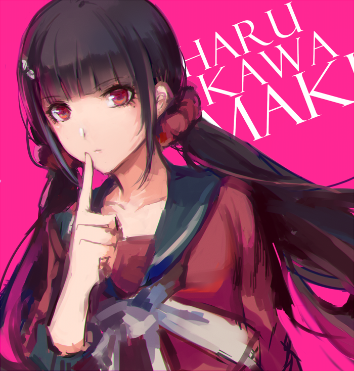 1girl bangs black_sailor_collar blunt_bangs character_name closed_mouth danganronpa dutch_angle eyebrows_visible_through_hair finger_to_mouth hair_ornament hair_scrunchie harukawa_maki index_finger_raised lanlanlu_(809930257) long_hair long_sleeves looking_at_viewer low_twintails mole mole_under_eye neckerchief new_danganronpa_v3 red_eyes red_shirt sailor_collar school_uniform scrunchie serafuku serious shirt shushing sidelocks solo twintails upper_body white_neckwear
