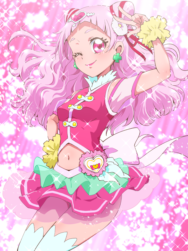 1girl arm_up cowboy_shot cure_yell earrings flower hair_flower hair_ornament hair_ribbon hand_on_hip heart_hair_ornament hugtto!_precure jewelry layered_skirt lipstick long_hair looking_at_viewer magical_girl makeup navel nono_hana one_eye_closed pink pink_eyes pink_hair pink_lipstick pink_shirt pink_skirt precure red_ribbon ribbon shirt skirt sleeveless sleeveless_shirt smile solo sparkle thigh-highs tj-type1 v white_legwear wrist_cuffs zettai_ryouiki