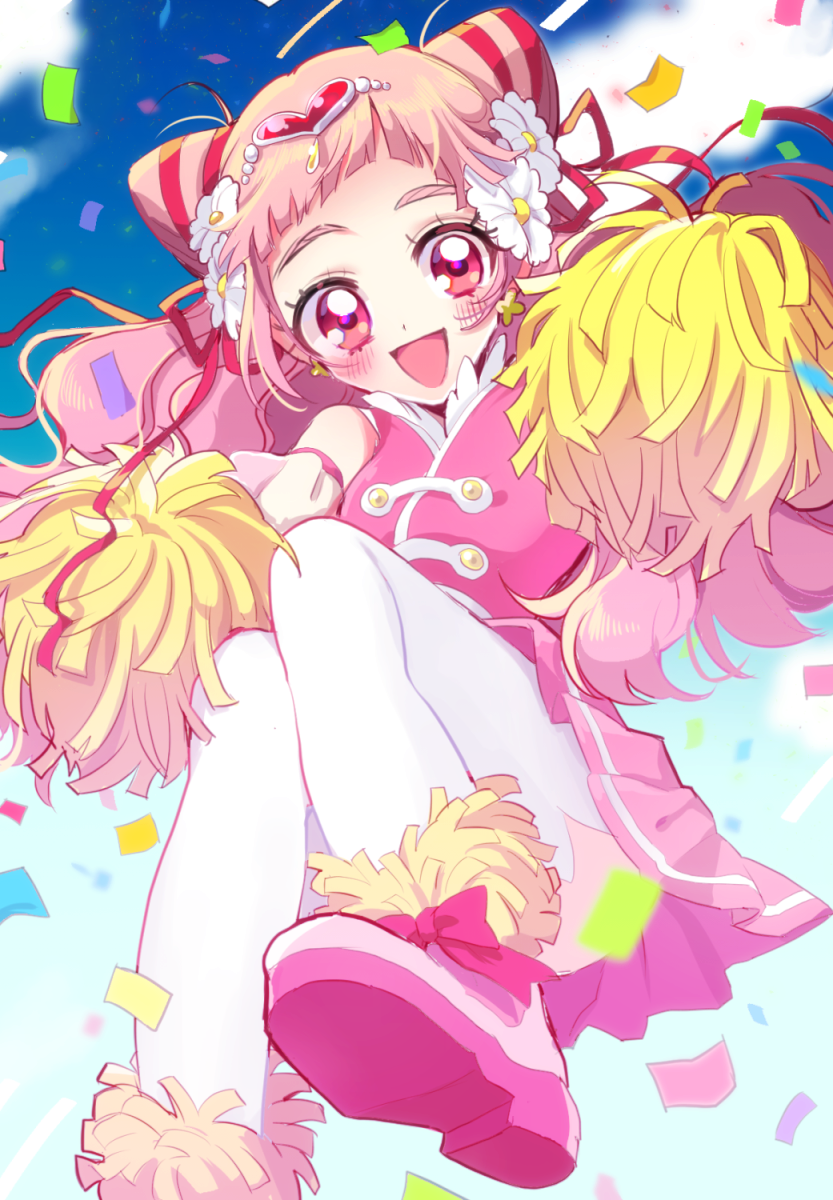 1girl :d blush clouds confetti cropped_feet cure_yell double_bun flower hair_flower hair_ornament hair_ribbon heart_hair_ornament highres holding hugtto!_precure kojiko_(kizikoriann) long_hair looking_at_viewer magical_girl nono_hana open_mouth pink_eyes pink_footwear pink_hair pink_shirt pink_skirt pom_poms precure red_ribbon ribbon shirt shoes skirt sky smile solo thigh-highs white_legwear zettai_ryouiki