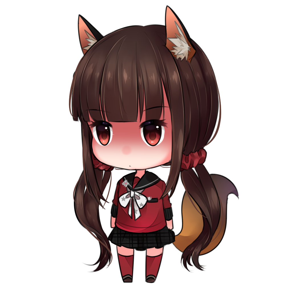 1girl animal_ears arms_at_sides bangs black_sailor_collar black_skirt blunt_bangs brown_hair chibi danganronpa eyebrows_visible_through_hair fox_ears fox_tail full_body hair_ornament hair_scrunchie harukawa_maki kemonomimi_mode long_hair long_sleeves looking_away low_twintails miniskirt neckerchief new_danganronpa_v3 plaid plaid_skirt pleated_skirt red_legwear red_shirt sailor_collar school_uniform scrunchie serafuku shaded_face shirt simple_background skirt solo standing star star_print tail tareme thigh-highs twintails very_long_hair white_background white_neckwear yuikannon zettai_ryouiki