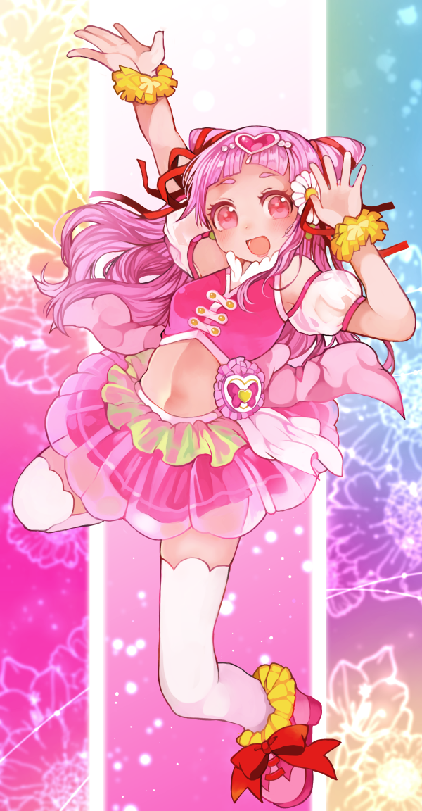 1girl :d arm_up bow cure_yell double_bun flower full_body hair_flower hair_ornament hair_ribbon heart_hair_ornament hugtto!_precure layered_skirt long_hair looking_at_viewer magical_girl midriff multicolored multicolored_background nekokurage_(musical_box) no_navel nono_hana open_mouth pink_eyes pink_footwear pink_hair pink_shirt pink_skirt precure red_bow red_ribbon ribbon shirt shoes skirt sleeveless sleeveless_shirt smile solo thigh-highs white_legwear zettai_ryouiki