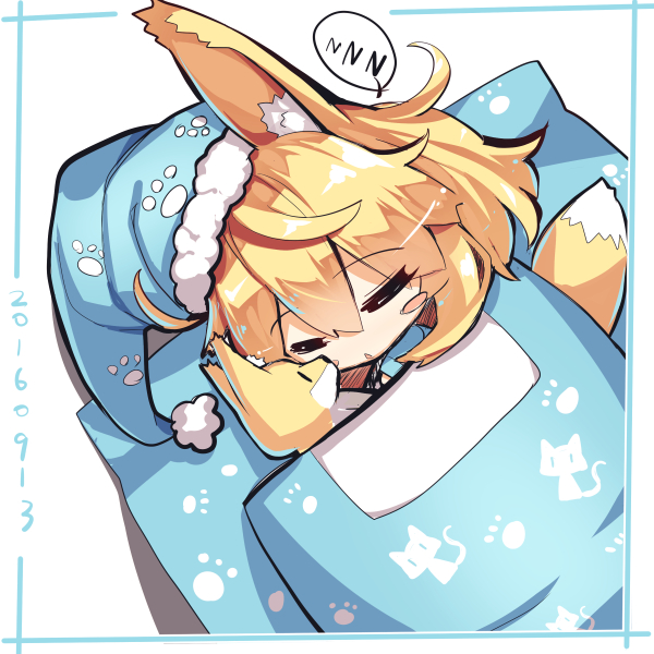 1girl animal_ears bangs blonde_hair blue_hat blue_shirt blush_stickers chestnut_mouth chibi closed_eyes eyebrows_visible_through_hair fox_ears fox_girl fox_print fox_tail fur-trimmed_hat hair_between_eyes hat long_hair long_sleeves nightcap original parted_lips paw_print shirt sleeping stuffed_animal stuffed_fox stuffed_toy tail under_covers yuuji_(yukimimi) zzz