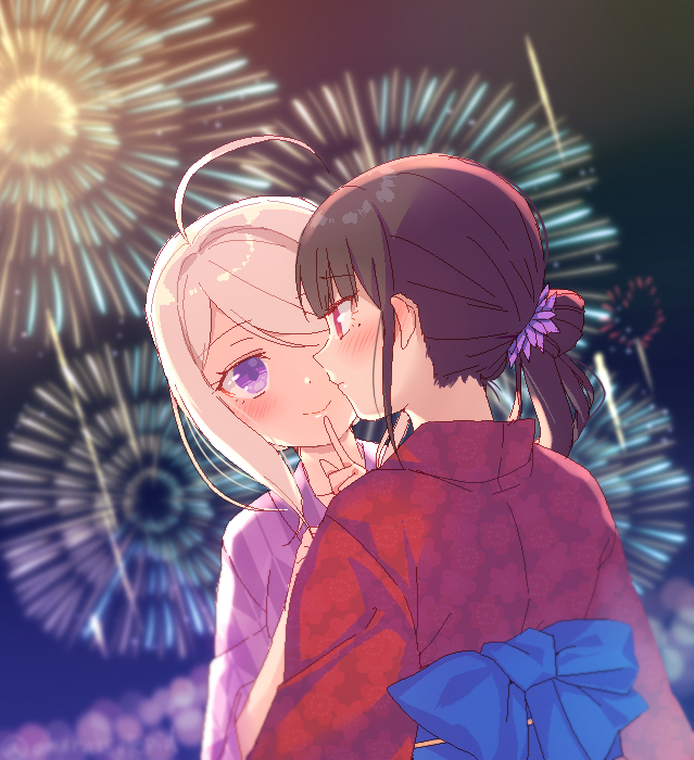 2girls ahoge akamatsu_kaede alternate_costume alternate_hair_length alternate_hairstyle bangs blonde_hair blue_bow blunt_bangs blurry blurry_background bow brown_hair closed_mouth danganronpa depth_of_field eyebrows_visible_through_hair festival finger_to_mouth fireworks flower hair_flower hair_ornament harukawa_maki index_finger_raised japanese_clothes kimono mole mole_under_eye multiple_girls new_danganronpa_v3 night night_sky obi outdoors pink_kimono profile red_eyes red_kimono sash shiny shiny_hair short_hair shushing sky smile swept_bangs upper_body violet_eyes yukata yuraiko yuri