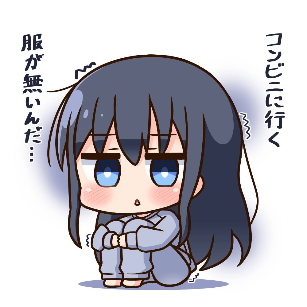 1girl :< bangs barefoot black_hair blue_eyes blue_pajamas blue_pants blue_shirt blush character_request chibi commentary_request eyebrows_visible_through_hair full_body hair_between_eyes hana_kazari leg_hug long_hair pants parted_lips shirt sidelocks sitting slow_start solo translation_request trembling triangle_mouth very_long_hair white_background