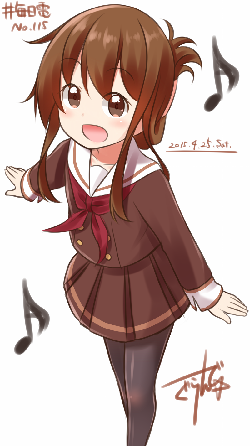 1girl :d artist_name black_legwear brown_eyes brown_hair brown_skirt dated folded_ponytail gurande_(g-size) hibike!_euphonium highres inazuma_(kantai_collection) kantai_collection long_sleeves musical_note neckerchief open_mouth pantyhose parody pleated_skirt ponytail quaver red_neckwear school_uniform serafuku short_hair signature skirt smile solo
