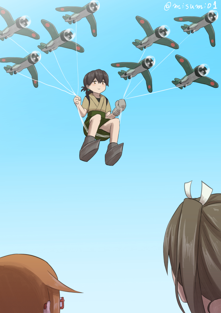 3girls aircraft airplane black_eyes black_hair blue_sky brown_hair commentary_request flying folded_ponytail gegege_no_kitarou glasses hair_ribbon japanese_clothes kantai_collection long_hair looking_up misumi_(niku-kyu) mochizuki_(kantai_collection) multiple_girls parody remodel_(kantai_collection) ribbon sky smile taiyou_(kantai_collection) twintails zuikaku_(kantai_collection)