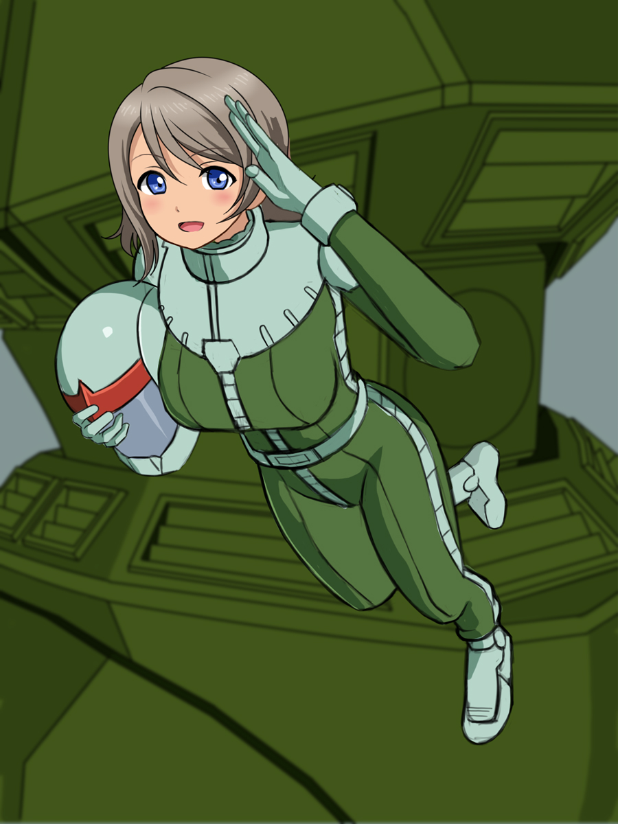 1girl blue_eyes breasts company_connection crossover floating gelgoog grey_hair gundam highres issei_(sakito) large_breasts looking_at_viewer love_live! love_live!_school_idol_project love_live!_sunshine!! mobile_suit_gundam pilot_helmet pilot_suit salute solo watanabe_you zeon zero_gravity