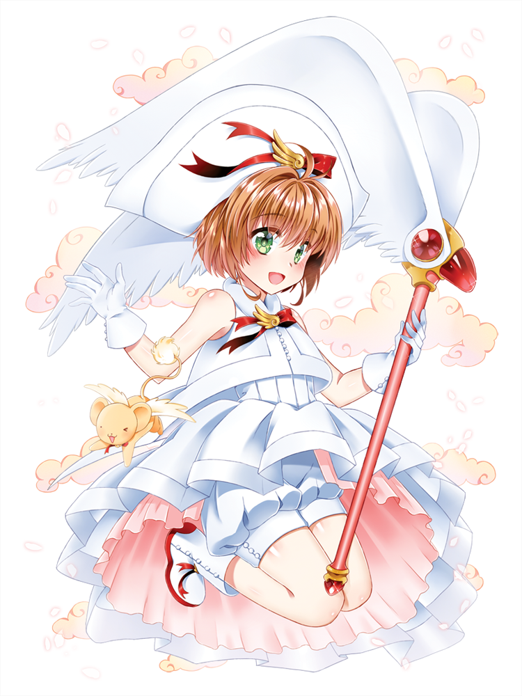 1girl antenna_hair blush brown_hair card_captor_sakura green_eyes hago kinomoto_sakura magical_girl short_hair solo