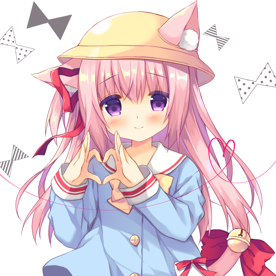 1girl animal_ears azur_lane bangs bell blue_shirt blush bow bowtie cat_ears cat_girl cat_tail closed_mouth ears_through_headwear eyebrows_visible_through_hair hair_between_eyes hair_ribbon hat head_tilt heart heart_hands jingle_bell kindergarten_uniform kisaragi_(azur_lane) long_hair long_sleeves looking_at_viewer one_side_up pink_hair purinko red_bow red_ribbon ribbon school_hat shirt sidelocks smile solo tail tail_bell tail_bow violet_eyes white_background yellow_hat yellow_neckwear