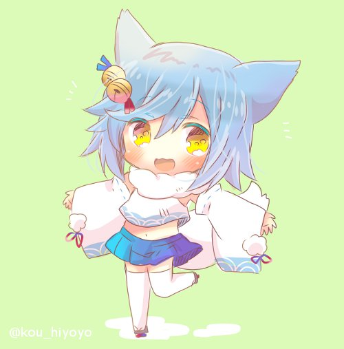 1girl :d animal_ears azur_lane bell blue_hair blue_skirt blush chibi detached_sleeves fubuki_(azur_lane) full_body fur_collar green_background hair_bell hair_ornament jingle_bell kouu_hiyoyo long_sleeves looking_at_viewer midriff navel open_mouth outstretched_arms pleated_skirt shirt skirt smile solo spread_arms standing standing_on_one_leg thigh-highs white_legwear white_shirt wide_sleeves yellow_eyes