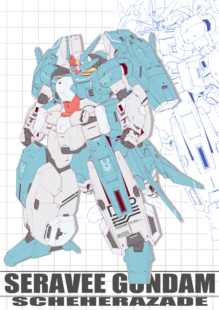 alternate_design blueprint grid_background gundam gundam_00 gundam_build_divers gundam_seravee gunpla mecha mobile_suit niua_chun