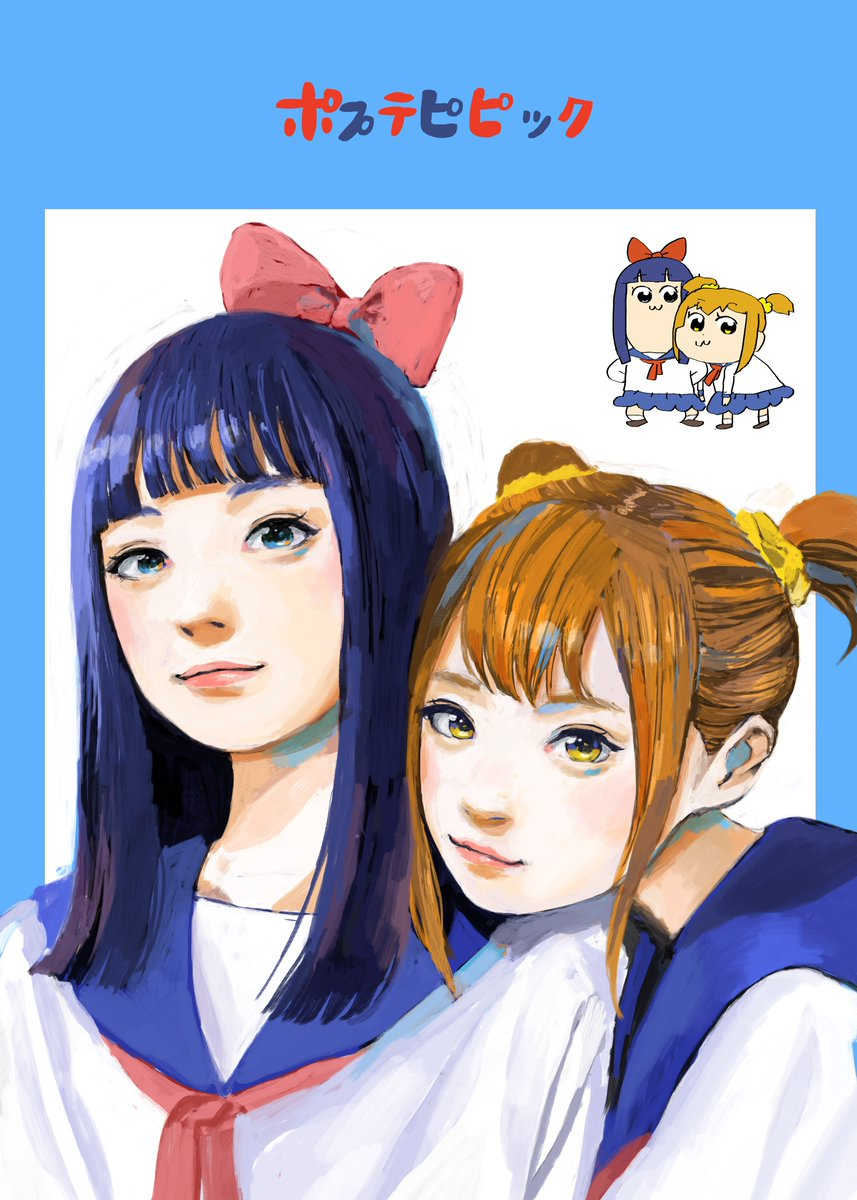 2girls :3 bangs bkub_(style) blue_background blue_border blue_hair blue_sailor_collar blunt_bangs bow brown_hair closed_mouth commentary_request eyebrows_visible_through_hair hair_bow hair_ornament hair_scrunchie highres junjunforever leaning_to_the_side light_smile long_hair looking_at_viewer multiple_girls neckerchief parody pink_lips pipimi poptepipic popuko red_bow red_neckwear sailor_collar scrunchie shirt short_hair simple_background style_parody two-tone_background two_side_up upper_body white_background white_shirt yellow_eyes yellow_scrunchie