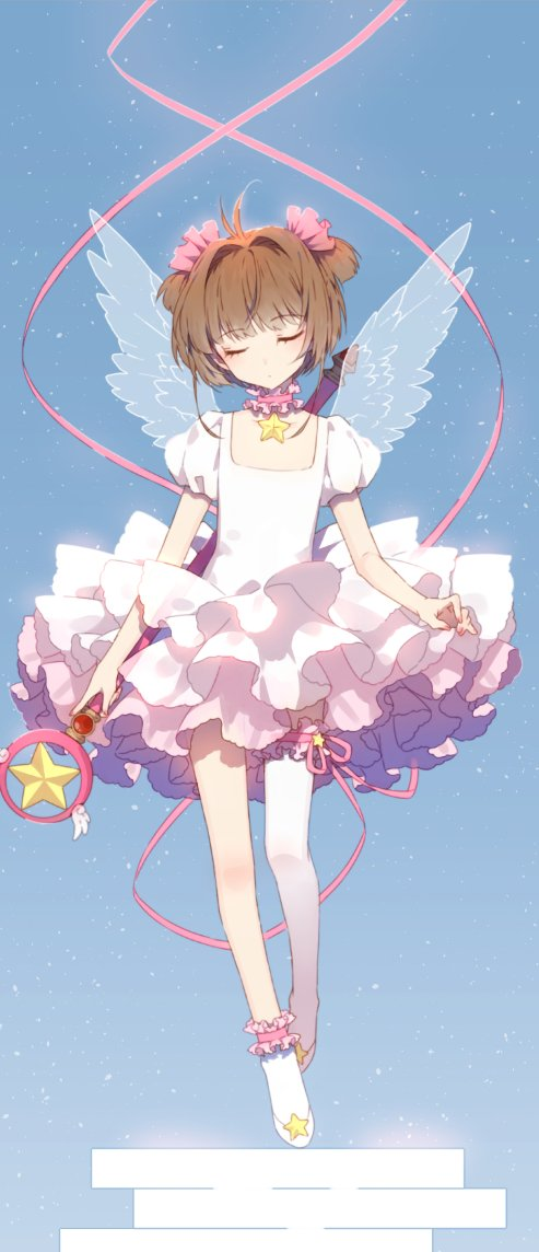 brown_hair card_captor_sakura green_eyes hair_bobbles hair_ornament hakusai_(tiahszld) kinomoto_sakura magical_girl short_hair wand wings