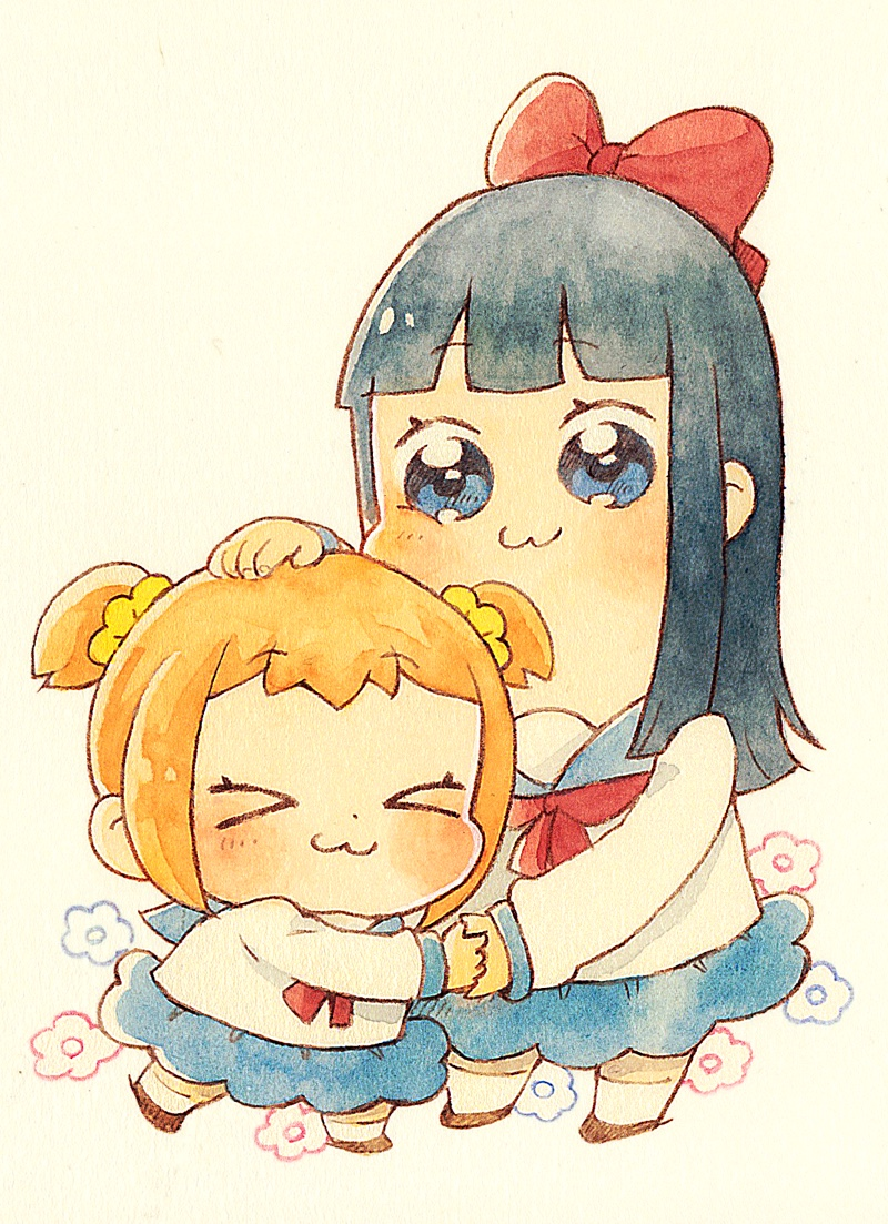 >3< 2girls :3 bangs bkub_(style) blouse blue_eyes blue_hair blue_sailor_collar blue_skirt blunt_bangs blush bow closed_eyes closed_mouth eyebrows_visible_through_hair flower full_body hair_bow hair_ornament hair_scrunchie hand_holding hand_on_another's_head long_hair long_sleeves looking_at_viewer momiji_(lucario) multiple_girls neckerchief parody pipimi poptepipic popuko red_bow red_neckwear sailor_collar scrunchie shirt short_hair skirt socks style_parody white_legwear white_shirt yellow_scrunchie