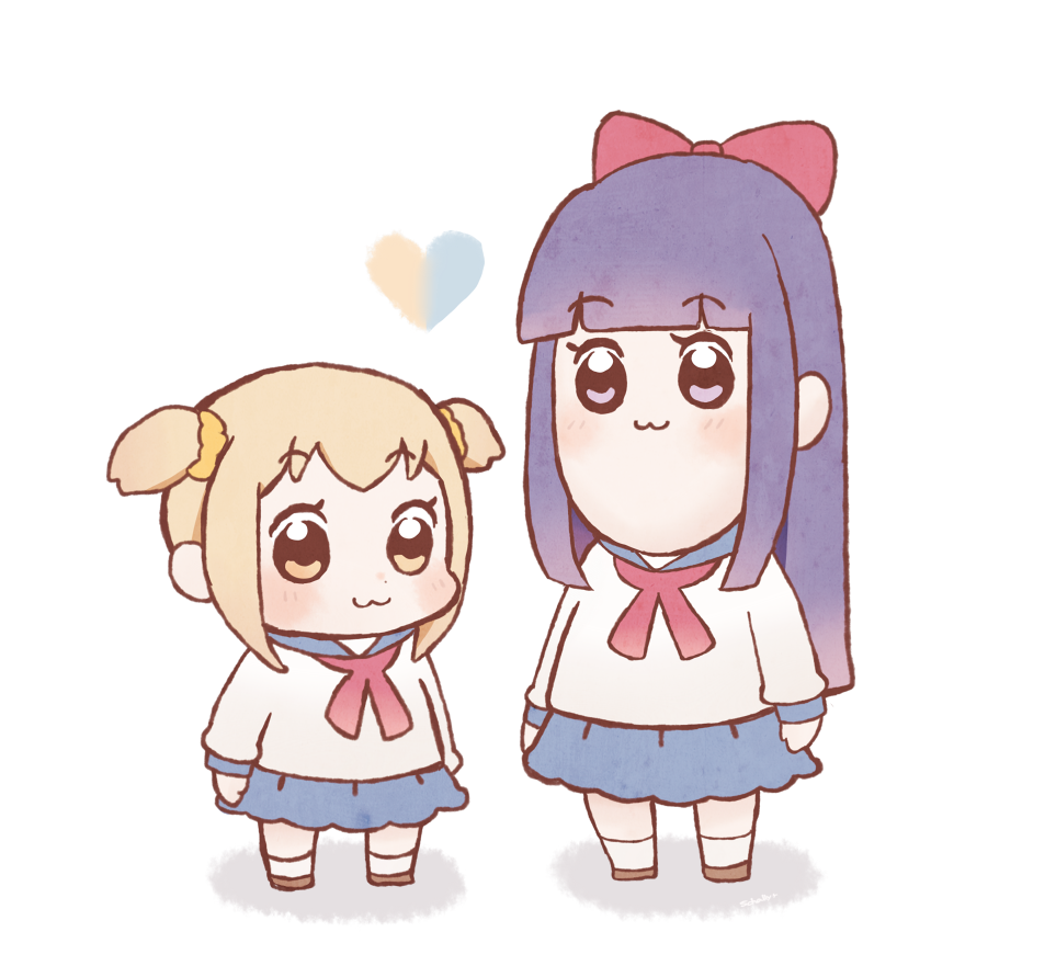2girls :3 arms_at_sides bangs bkub_(style) blouse blue_sailor_collar blue_skirt blunt_bangs blush bow brown_footwear closed_mouth eyebrows_visible_through_hair full_body hair_bow hair_ornament hair_scrunchie heart light_brown_hair long_hair long_sleeves looking_at_viewer multiple_girls neckerchief parody pipimi poptepipic popuko purple_hair red_bow red_neckechief sailor_collar schally+ scrunchie shirt short_hair simple_background skirt socks standing style_parody two_side_up violet_eyes white_background white_legwear white_shirt yellow_eyes yellow_scrunchie