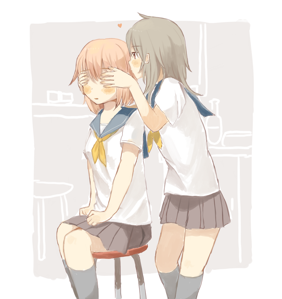 2girls blue_sailor_collar blush brown_hair brown_skirt covering_another's_eyes foomi grey_legwear heart kneehighs light_brown_hair long_hair multiple_girls neckerchief original parted_lips pleated_skirt sailor_collar school_uniform serafuku shirt short_sleeves sitting skirt standing stool violet_eyes white_shirt yellow_neckwear yuri