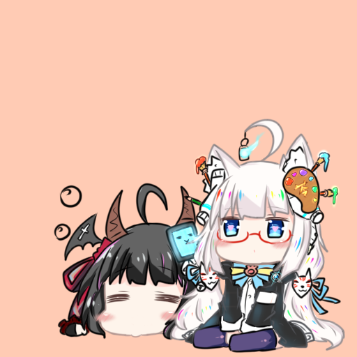 2girls =_= ahoge animal_ears bailingxiao_jiu bangs bat_wings black_hair black_jacket black_wings blue_ribbon blush blush_stickers brown_background chibi closed_eyes closed_mouth commentary_request copyright_request eyebrows_visible_through_hair fox_mask glasses hair_ornament hair_ribbon head_wings horns jacket lantern long_hair long_sleeves lying mask multiple_girls no_shoes on_stomach purple_legwear red-framed_eyewear ribbon shirt silver_hair simple_background sitting thigh-highs very_long_hair white_shirt wings