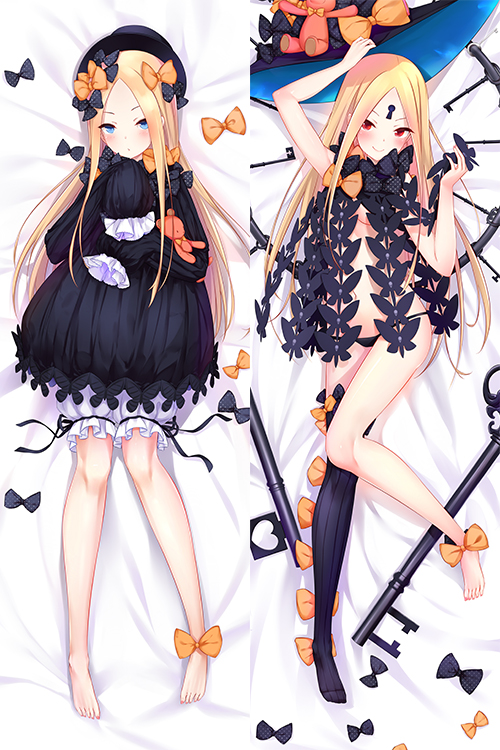 1girl abigail_williams_(fate/grand_order) arm_up bangs bare_legs barefoot bed_sheet black_bow black_dress black_hat black_legwear black_panties blonde_hair bloomers blue_eyes blush bow breasts butterfly closed_mouth commentary_request daki-makura dakimakura dress fate/grand_order fate_(series) forehead hair_bow hat hat_removed headwear_removed key keyhole long_sleeves looking_at_viewer lying multiple_views navel object_hug on_back orange_bow oversized_object panties parted_bangs polka_dot polka_dot_bow red_eyes revealing_clothes single_thighhigh skull_print sleeves_past_fingers sleeves_past_wrists small_breasts smile stuffed_animal stuffed_toy teddy_bear thigh-highs underwear white_bloomers witch_hat