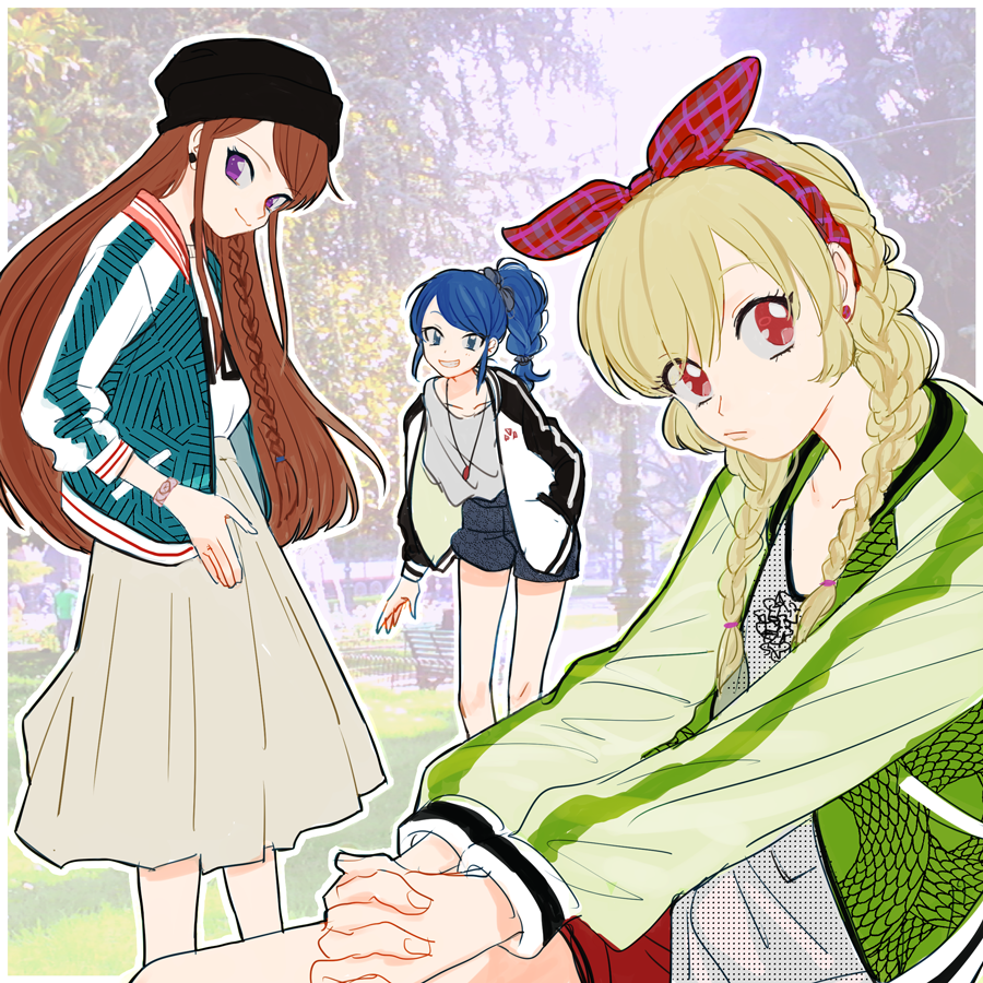 3girls aikatsu! alternate_hairstyle bare_legs beanie bench blonde_hair blue_eyes blue_hair bow braid brown_hair casual earrings eyes_visible_through_hair fashion grin hair_bow hair_ribbon hairband hand_in_pocket hat hood hoodie hoshimiya_ichigo interlocked_fingers jacket jewelry kiriya_aoi lamppost leaning_forward lipstick long_hair long_skirt looking_at_viewer makeup multiple_girls necklace open_clothes open_hoodie open_jacket outdoors own_hands_together park park_bench photo_background pouty_lips ribbon sakana_(skn) shibuki_ran shorts side_ponytail skirt smile tree twin_braids violet_eyes watch