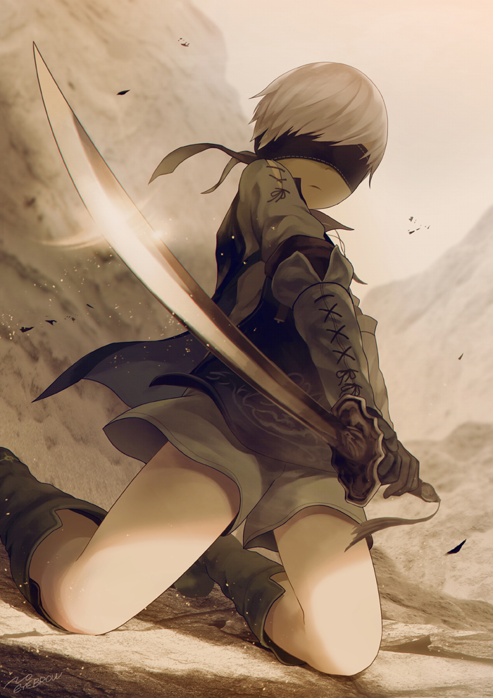 1boy blindfold boots gloves kneeling male_focus nier_(series) nier_automata noeyebrow_(mauve) short_hair shorts solo sword weapon white_hair yorha_no._9_type_s