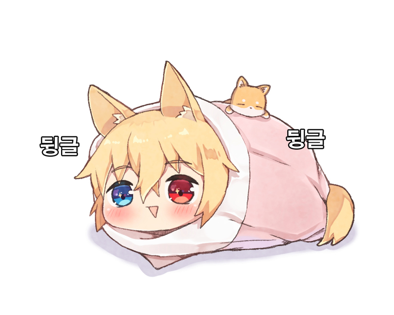 1girl :> animal animal_ears bangs blue_eyes blush cat_ears chibi eyebrows_visible_through_hair foreign_blue g41_(girls_frontline) girls_frontline hair_between_eyes heterochromia korean looking_at_viewer lying on_stomach parted_lips red_eyes solo tail translation_request white_background