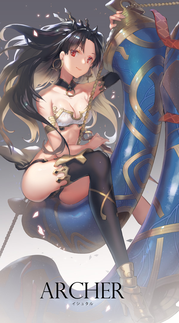 1girl ass bangs bare_shoulders black_hair black_legwear black_panties breasts character_name cleavage commentary detached_collar earrings fate_(series) gradient gradient_background gradient_hair hair_ornament heavenly_boat_maanna holding holding_weapon hoop_earrings ishtar_(fate/grand_order) jewelry long_hair looking_at_viewer medium_breasts multicolored_hair panties parted_bangs red_eyes ritsuki rope shoes single_sleeve single_thighhigh sitting solo strapless thigh-highs tubetop underwear weapon