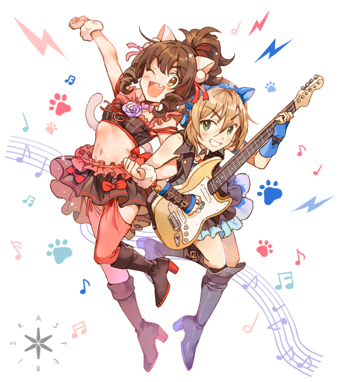 2girls animal_ears asterisk_(idolmaster) blush boots bow brown_hair cat_ear_headphones cat_ears cat_tail crop_top cropped_jacket detached_collar eyebrows_visible_through_hair fang frilled_skirt frills green_eyes grin guitar headphones high_heel_boots high_heels high_ponytail idolmaster idolmaster_cinderella_girls instrument inzup jacket light_brown_hair lightning_bolt locked_arms maekawa_miku multiple_girls musical_note navel one_eye_closed open_clothes open_jacket open_mouth over_the_collar paw_print plectrum red_bow short_hair skirt sleeveless_jacket smile staff_(music) tada_riina tail thigh-highs wristband