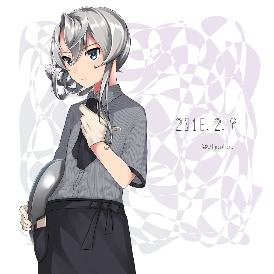 1girl adjusting_neckwear asymmetrical_hair bangs black_neckwear black_skirt blush buttons character_name collared_shirt dated eyebrows_visible_through_hair flipped_hair gloves grey_eyes hair_between_eyes holding holding_tray jouhou kantai_collection long_hair looking_away name_tag neckerchief notepad nowaki_(kantai_collection) pen shirt sidelocks silver_hair skirt smile solo striped striped_shirt swept_bangs tray twitter_username white_gloves