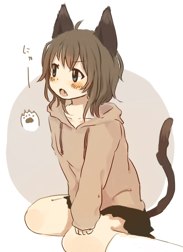 1girl :o ahoge animal_ears bangs blue_eyes blush brown_hair brown_hoodie cat_ears cat_girl cat_tail commentary_request drawstring eyebrows_visible_through_hair fang foomi grey_background hood hood_down hoodie kneehighs long_sleeves looking_away open_mouth original sitting sleeves_past_wrists solo tail two-tone_background v-shaped_eyebrows wariza white_background white_legwear