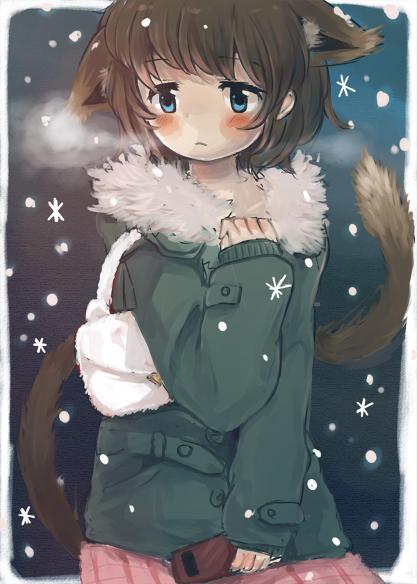 1girl :< animal_ears bag bangs blue_eyes blush brown_hair cat_ears cat_tail cellphone closed_mouth commentary_request eyebrows_visible_through_hair foomi fur_collar green_coat hand_up handbag holding holding_cellphone holding_phone long_sleeves original phone pink_skirt pleated_skirt sitting skirt sleeves_past_wrists snowing solo tail